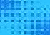 Blue Comic Cartoon Background. Halftone Vector Illustration Design.