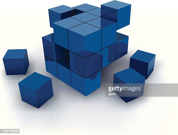 Blue cubes against white background