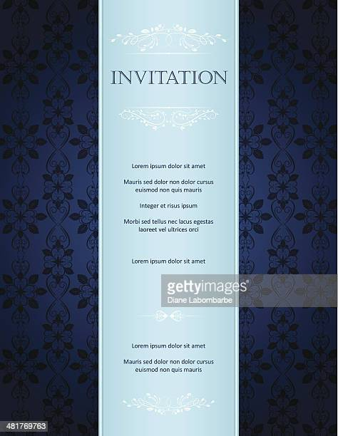 Blue Damask Background With Pattern And Frame Greeting Card Invitation
