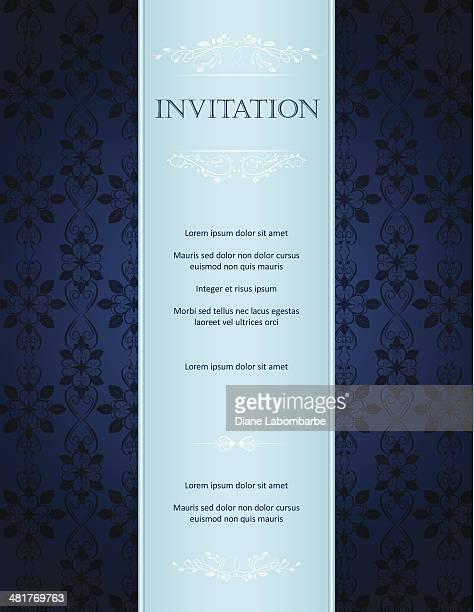 Avec bleu fond damassé motif de carte de voeux et Invitation