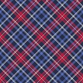 Blue diagonal fabric texture plaid seamless pattern. Vector illustration.