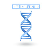 Blue DNA Icon Structure Molecular Science and Biology Concept on White Background - Vector Illustration