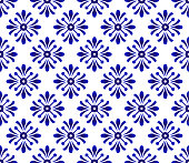 Floral ornament backdrop damask style, blue and white ceramic tile seamless, cute porcelain background, beautiful pattern design for ceiling, texture, wall, paper and fabric, vector illustration