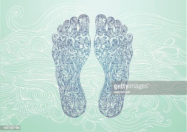 Blue Footprints on a lighter blue background
