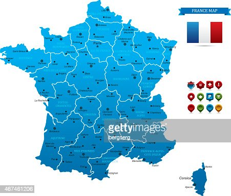 Blue France's map with separated areas