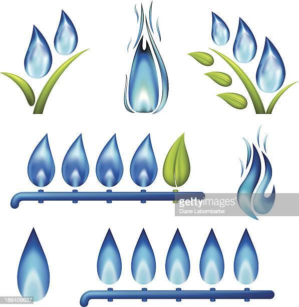Blaue Gas Flammen-Set