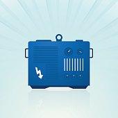 blue generator on blue background
