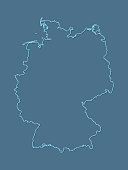 A blue German map with single border line and shading on dark background vector illustration
