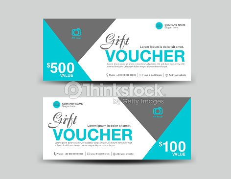 Blue Gift Voucher Template Coupon Design Ticket Banner Cards Polygon ...