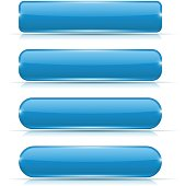 Blue glass buttons. Rectangle and oval web icons. Vector 3d illustration isolated on white background