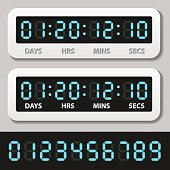 blue glowing digital numbers - countdown timer - illustration for the web