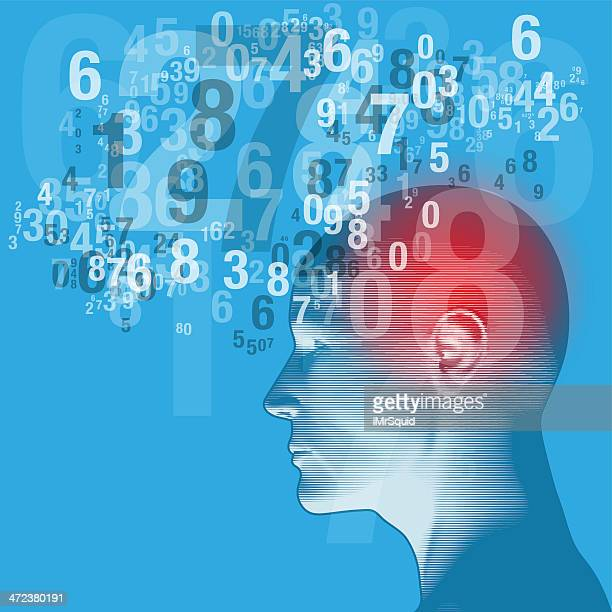 Blue graphic of a human head and a cloud of numbers