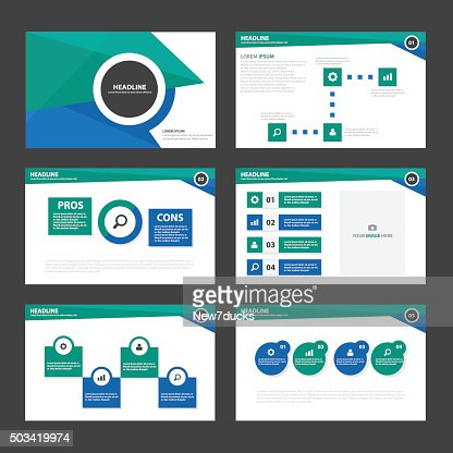 blue green infographic elements presentation template flat design, Powerpoint templates