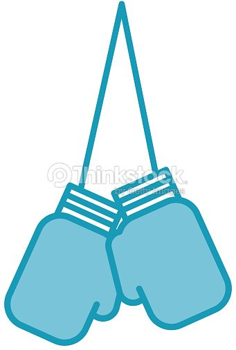 Blue hanging boxing gloves