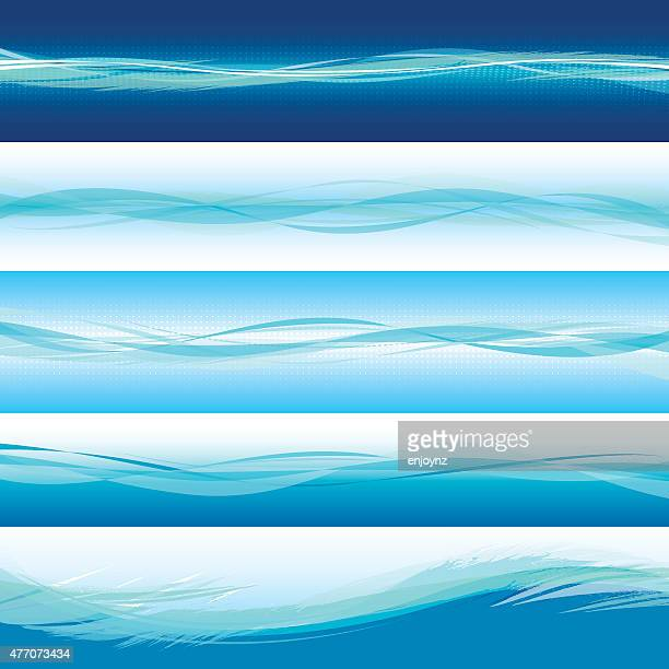 Blue horizontal wave backgrounds