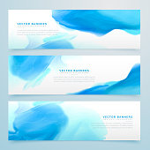 blue ink watercolor banners set