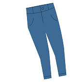 Blue jeans flat illustration on white. Hiking and weekend escape objects series.