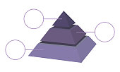 Blue layered shaded pyramid vector diagram with labels.