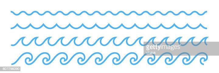 Blue line ocean wave ornament pattern : Vector Art