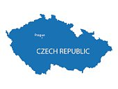 detailed vector map od Czech Republic with indication od Prague