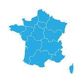 Blue map of France divided into 13 administrative metropolitan regions, since 2016. Vector illustration.