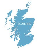 blue vector map of Scotland with indication of Edinburgh