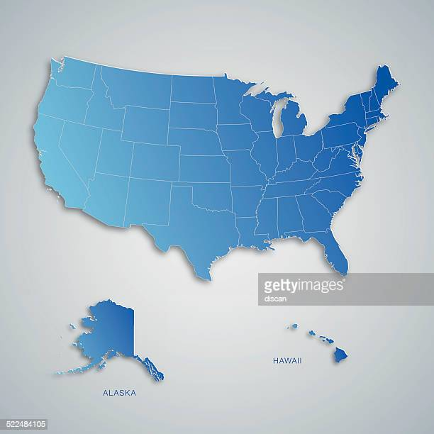 Blue map of USA with paper cut effect