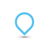 Blue map pointer with dropped shadow on white background. EPS10 vector illustration.