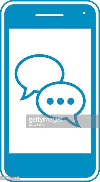 Blue Message Bubbles Smart Phone