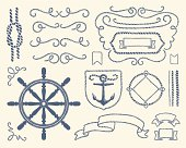Set of vintage nautical decorative items.