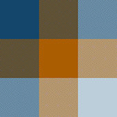 Blue orange pixel plaid pattern vector. Seamless tartan check plaid for poncho, scarf, blanket, or other textile design.