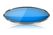 Blue oval button with chrome frame. Vector 3d illustration isolated on white background