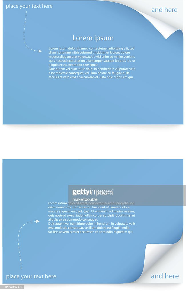 blue paper card with curled corner : Vector Art
