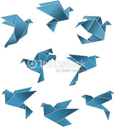 blauem papier tauben im origamistil und doves vektorgrafik thinkstock. Black Bedroom Furniture Sets. Home Design Ideas