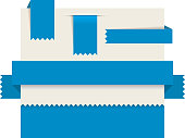 Blue paper tags - Vector ribbons, stripes and bookmarks