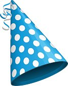 Blue party hat with white circles. Accessory, symbol of the holiday. Birthday Colorful Cap vector illustration. EPS 10.