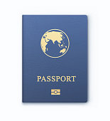 Vector illustration of blue passport with map, international identification document for travel, isolated on white background