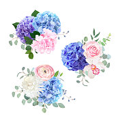 Blue, pink and purple hydrangea, orchid, rose, white chrysanthemum, ranunculus, eucalyptus and greenery vector design bouquets.Beautiful spring wedding flowers.All elements are isolated and editable