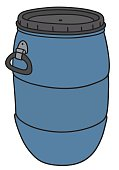 Hand drawing of a blue plastic barrel