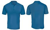Vector illustration of blank blue polo t-shirt template,  front and back design isolated on white
