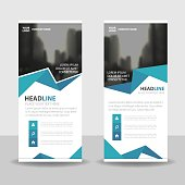Blue polygon Business Roll Up Banner flat design template ,Abstract Geometric banner template Vector illustration set, abstract presentation brochure flyer template vertical template vector