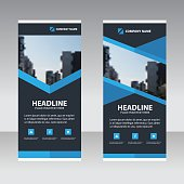Blue polygon Business Roll Up Banner flat design template ,Abstract Geometric banner template Vector illustration set, abstract presentation template