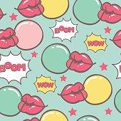 blue pop art seamless vector pattern with lips blowing bubblegum