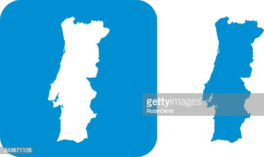Blue Portugal Icon Vector Art Getty Images - Portugal map icon