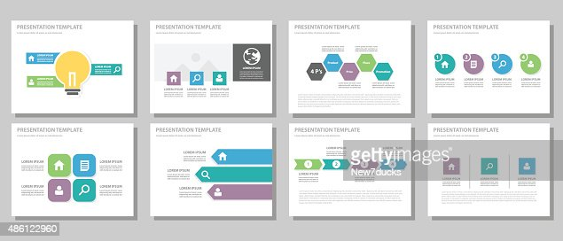 blue purple green multipurpose presentation templates vector art, Powerpoint templates