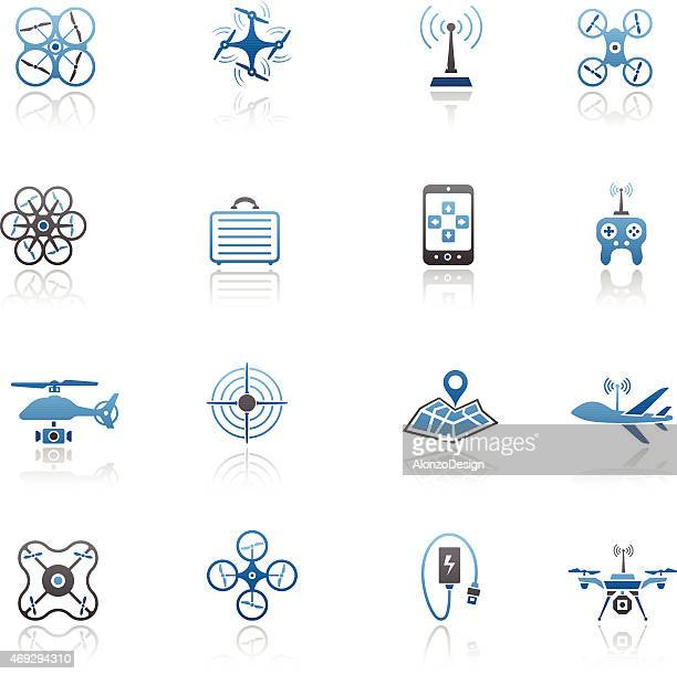 Blue quad opted icon set with a white background