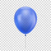 Blue realistic balloon. Blue ball isolated on a transparent background for designers and illustrators. Balloon as a vector illustration