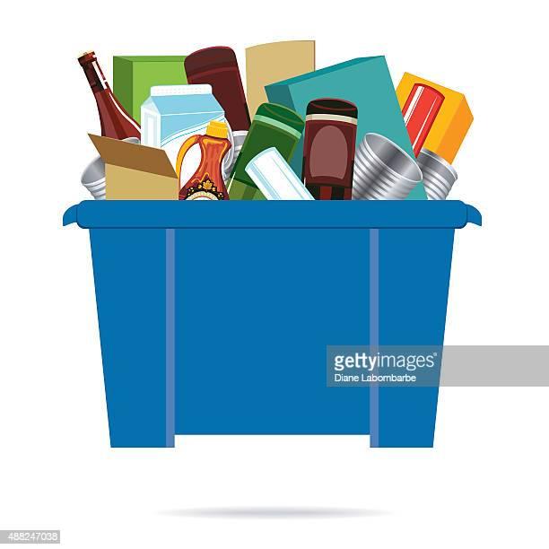 Blaue Recycling-Behälter gefüllt mit leeren Tin Dosen