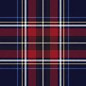 Blue red check plaid texture seamless pattern