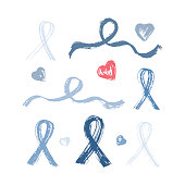 Blue Ribbon Grunge Brush Strokes Vector Set. Prostate Cancer Awareness Sign. Man Healthcare Concept. Medical and Health Concept